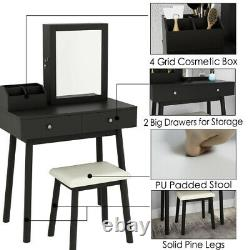 Modern Dressing Table and Jewelry Cabinet With lock Set with Mirror 2 Drawer US