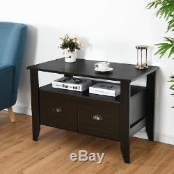 Multi-function Retro Coffee Cabinet Table With 2 Drawers Spacious Tabletop NEW
