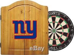 NY Giants Officially Licensed NFL Dart Cabinet Set with Steel Tip Bristle Dartbo