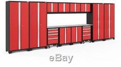 NewAge 24-Gauge Welded Steel Stainless Steel Worktop Cabinet Set in Red 14-Piece