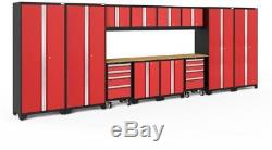 NewAge Bold 24-Gauge Welded Steel Bamboo Worktop Cabinet Set in Red (14-Piece)
