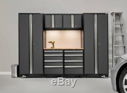 NewAge Bold 3.0 Cabinet 7 Piece Set Gray Doors Stainless Steel Top Workbench