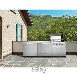 NewAge Products Outdoor Kitchen Cabinet Stainless Steel 4 Piece Set