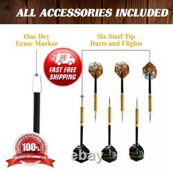 New Beautiful 40 Dartboard Cabinet Set LED Lights Steel Tip Darts Brown Black