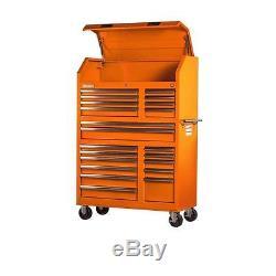 Orange Workshop Tool Chest Rolling Cabinet Set Lockable Storage 42 in. 20 Drawer