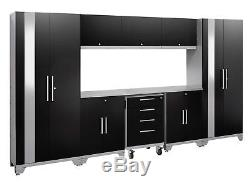Performance 2.0 9 Piece Storage Cabinet Set Black Stainless Steel