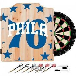 Philadelphia 76ers NBA Dartboard Cabinet Set with 6 Steel Tip Darts Scoreboard