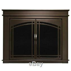 Pleasant Hearth Fireplace Doors Small Tinted Tempered Glass Cabinet Style Bronze