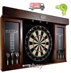 Premium 40 Dartboard Cabinet Set, LED Lights, Steel Tip Darts, Brown/Black