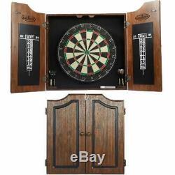 Premium Dartboard Cabinet Set Darts Bristle Game Room Scoreboard Board Steel Tip