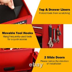 Red 6-Drawer Rolling Tool Chest Cabinet Toolbox Combo Set Kit Locking With Riser