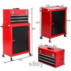 Rolling Tool Chest Steel Box Storage Cabinet Set Home Garage Tools Organizer 2pc
