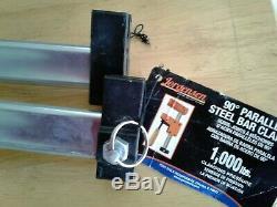 SET of 2 JORGENSEN #8048 Cabinet Master 48 90° Parallel Steel Bar Clamp USA