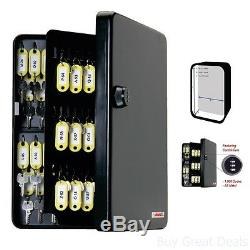 Safety Keys 122 Key Hooks Cabinet Steel Box with Tags Label Lock Code Set New