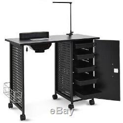 Salon Nail Art Technician Steel Frame Manicure Table Desk Set Cabinet Lockable