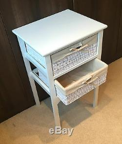 Set 2 White Bedside Tables Wicker Storage Baskets Bedroom Cabinet Nightstand 13