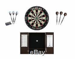 Set Bristle Dartboard + Espresso Steel Tip Cabinet + Mamba Tungsten Darts