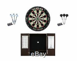 Set Bristle Dartboard + Espresso Steel Tip Cabinet + Razor/Wizard Darts