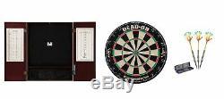 Set Bristle Dartboard + Mahogany Steel Tip Cabinet + Rainbow 90% Tungsten Darts