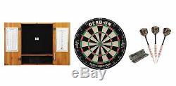 Set Bristle Dartboard + Oak Cabinet + Realtree Steel Tip Darts Set