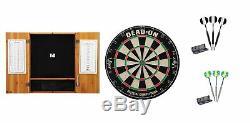 Set Includes Bristle Dartboard + Oak Cabinet + Black Steel Tips + Prism Darts