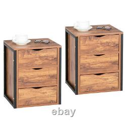 Set Of 2 Nightstand with 3 Drawers Bedside Table Cabinet Acent Table Furniture