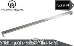 Set of 10 Bold Design Solid Stainless Steel 36 Cabinet Handle Bar Pull