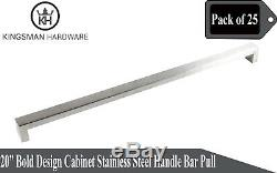 Set of 25 Bold Design Solid Stainless Steel 20 Cabinet Handle Bar Pull