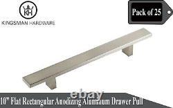 Set of 25-Flat Rectangular Solid Anodizing Aluminum 10 Cabinet Bar Pull Handles