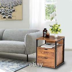 Set of 2 Nightstand Chest Dresser Cabinet Sofa End Table with 2 Drawers & Shlef