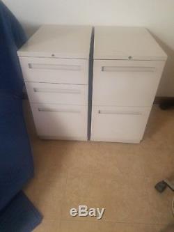 Set of Steel Gray 2 & 3 Drawer Rolling Pedestal File Storage Cabinet