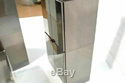 Smoked Mirror Steel Mid Century Modern Stacking Cabinet Set Chest of Drawers