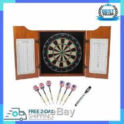 Solid Wood Dartboard Cabinet Set With Bristle Dartboards 6 Steel Tip Darts New