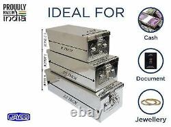 Stainless Steel Locker Boxes/Jewellery Boxes/Cash Peti Set 8, 10, 12, Silver