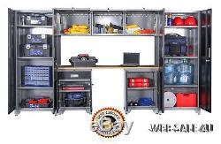Steel Garage Cabinet Set Storage Drawer 8 Pc Welded Metal Industrial Organizer