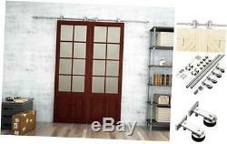 Steel Sliding Barn Wood Double Doors Cabinet Closet Hardware Track Kit Set