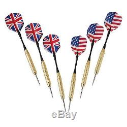 Steel Tipped Darts Cabinet Set US Flag British Solid Wood Dartboard Holder New