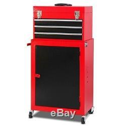 Steel Tool Chest Box & Rolling Storage Cabinet Set Home Garage Tools Organizer