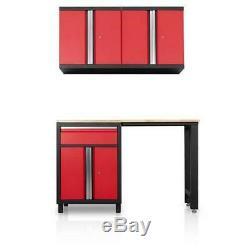 Steel Wood Worktop Cabinet Set Garage Storage Modular Organizer Red 4 Piece New