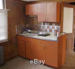 Striking Mid Century Modern 4 Piece Set SHEET STEEL Kitchen Counter & Cabinets