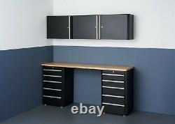 TRINITY TLSPBK-0617 6-Piece Garage Cabinet Set with 72 Wood Top Black