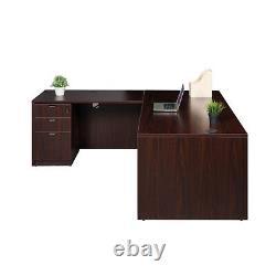 Telework, Homeschool Boss Brand Office Desks & File Cabinets 4 Piece Set Mocha