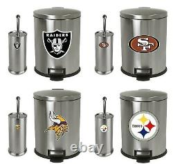 Trash Can and Toilet Brush Set Stainless Steel withMLB Team Logo Decals Bathroom
