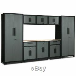Unique 9 Pcs Big Steel Garage Storage Cabinet Set Home Office Indoor Living room