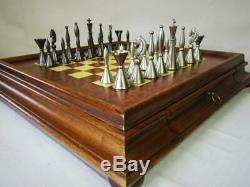 VINTAGE CHESS SET STEEL AND COPPER K 105 mm AND ITALIAN CHESS CABINET