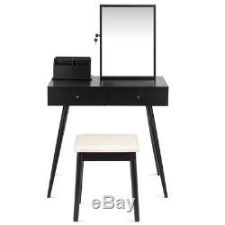 Vanity Dressing Table Set Lockable Jewelry Cabinet with Mirror
