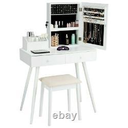 Vanity Makeup Dressing Jewelry Cabinet Table Set WithStool Top Mirror 2 Drawers CN