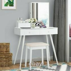 Vanity Makeup Dressing Jewelry Cabinet Table Set WithStool Top Mirror 2 Drawers LH
