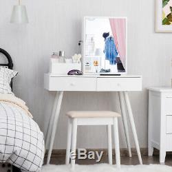 Vanity Table Set withMirror Dressing Table Stool Lockable Jewelry Armoire Cabinet