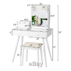 Vanity Table Stool Set withJewelry Organize Cabinet Dressing Table Lockable